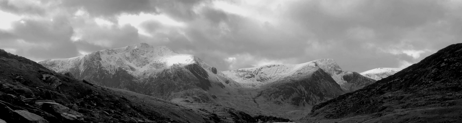 View of snow capped Welsh mountains (in Snowdonia)
